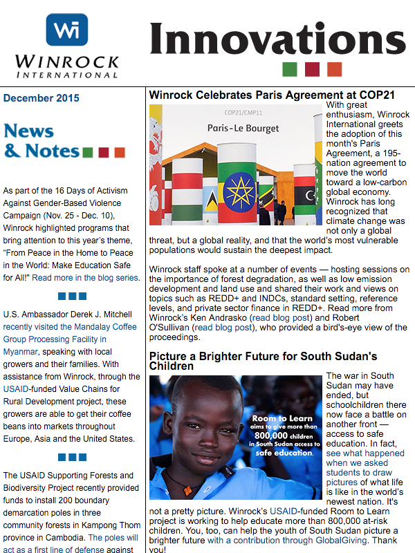 Winrock International December 2015 Innovations Newsletter