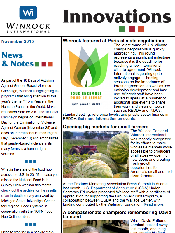 Winrock International November 2015 Innovations Newsletter