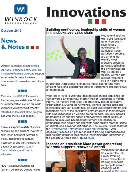 Winrock International October 2015 Innovations Newsletter
