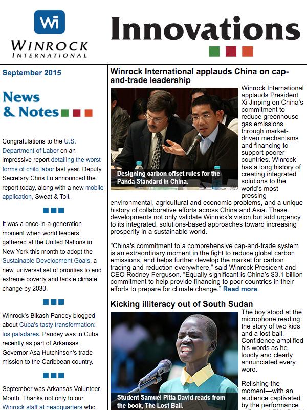 Winrock international September 2015 Innovations Newsletter