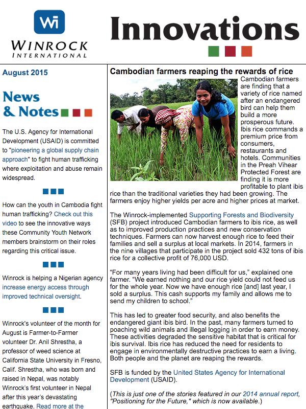 Winrock International August 2015 Innovations Newsletter