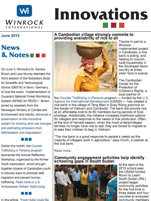 Winrock International June 2015 Innovations Newsletter