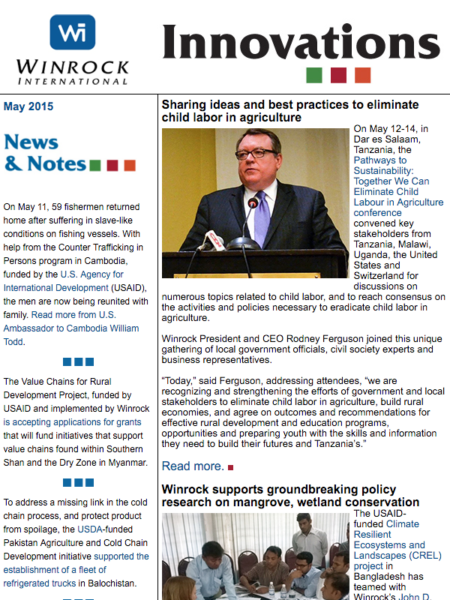 Winrock International May 2015 Innovations Newsletter