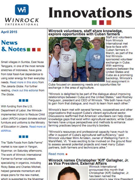 Winrock International April 2015 Innovations Newsletter