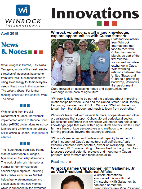 Winrock International April 2015 Innovations Newsletter