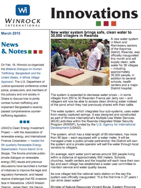 Winrock International March 2015 Innovations Newsletter