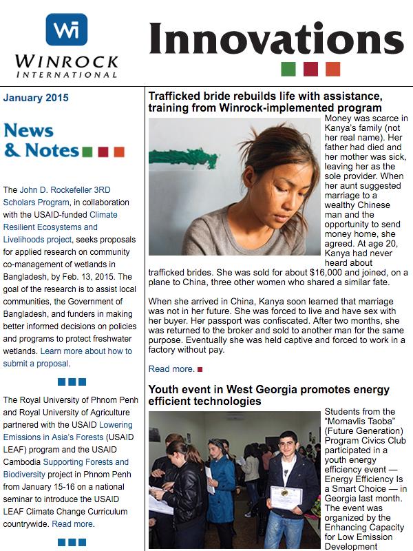 Winrock International January 2015 Innovations Newsletter