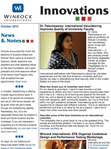 Winrock International October 2013 Innovations Newsletter