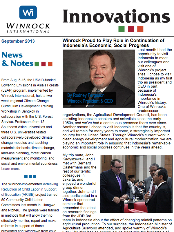 Winrock International September 2013 Innovations Newsletter