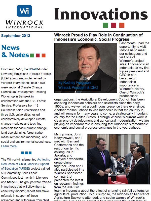Winrock International September 2013 Innovations Newsletter