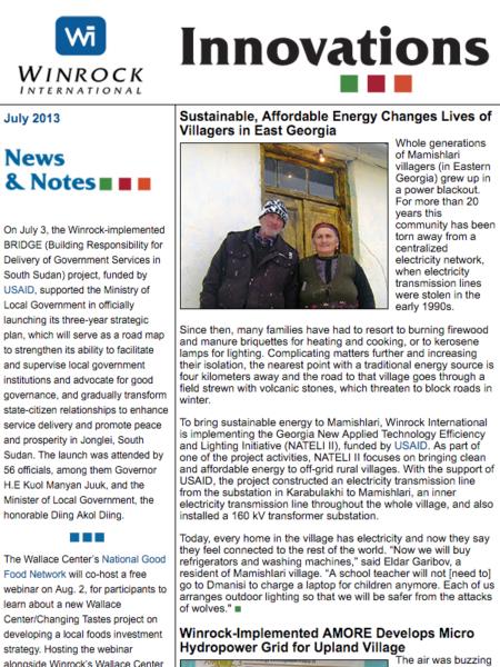 Winrock International July 2013 Innovations Newsletter