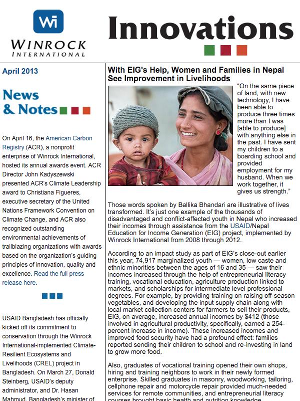 Winrock International April 2013 Newsletter