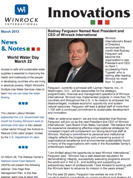 Winrock International March 2014 Innovations Newsletter