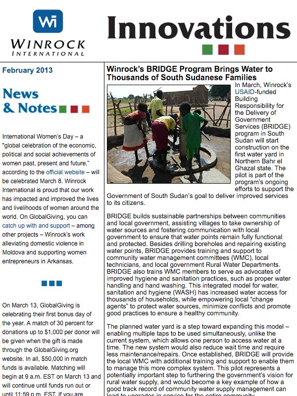 Winrock International February 2013 Innovations Newsletter