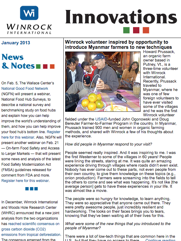 Winrock International January 2013 Innovations Newsletter