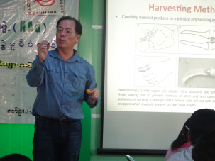 Dr. Martin Lo explains GAPs for harvesting by showing the proper techniques with an orange and improper techniques with a grape. (NAG's training hall, Magway, Feb.2016)