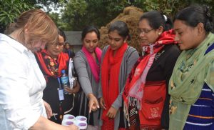 F2F volunteer Sandra Costello and trainees in Bangladesh