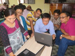 Dr. Shrestha with trainees at CCT Dharan
