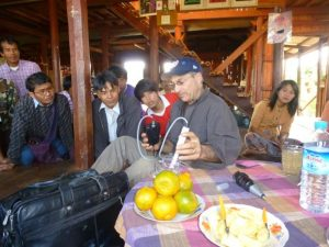 Farmers were rapt as F2F volunteer Howard Prussack demonstrated simple technologies