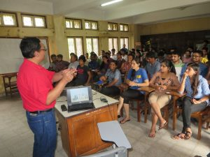 Dr. Shrestha presenting to AFU students on basic weed science