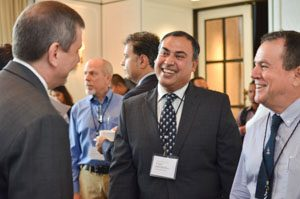 Winrock's Joyjit Deb Roy and William Collis of the International Maize and Wheat Improvement Center (CIMMYT) during a break in the summit.