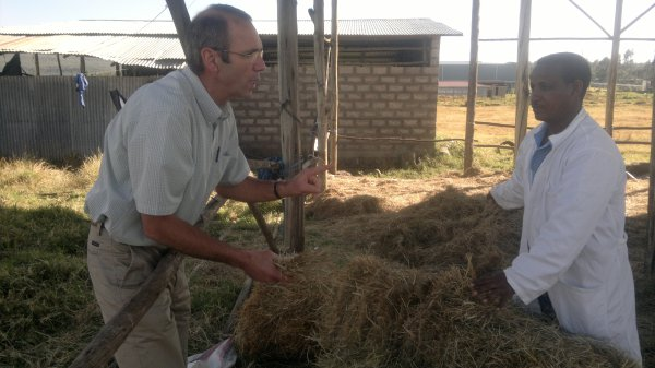 Bill Goeres on a dairy farm in Ethiopia