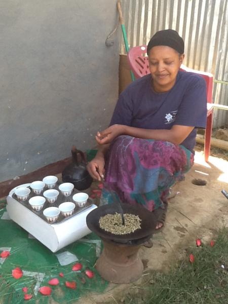 Preparing coffee, the traditional way