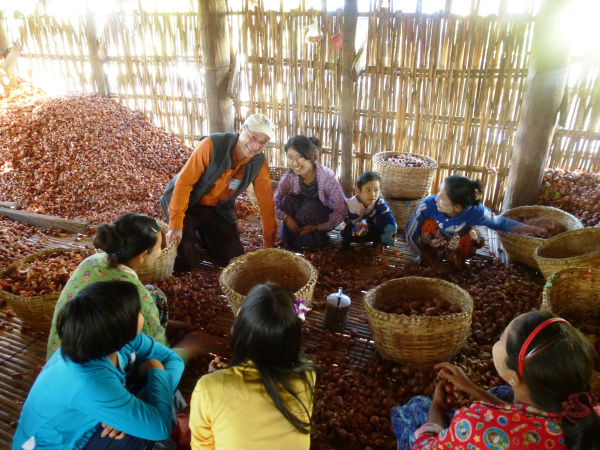 Howard Prussic with onion farmers in Myanmar