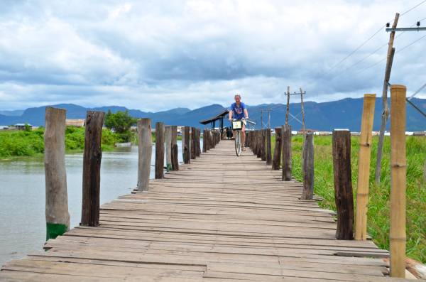 Katie explores possible restaurant locations with her friend, U Thein Linn, in his home village of Maing Thouk