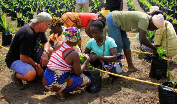 Volunteer Istvan Keri supervises drip irrigation installation