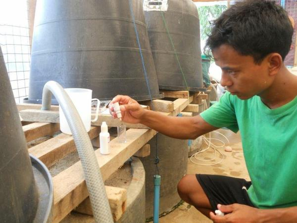 Hatchery technician conducts water quality measures