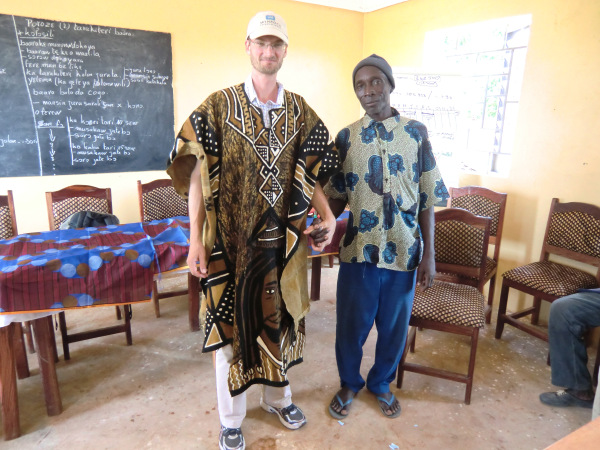 Stephen in traditional robe, gifted to him by the M'pendougou community where he volunteered