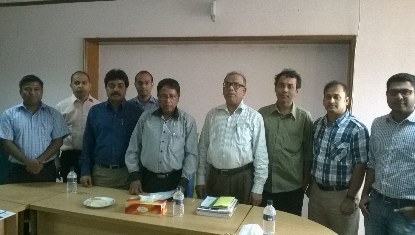 The CREL/JDR 3RD Mangrove team met with the Chief Conservator of Forests (third from the right) and Deputy Chief Conservators of Forests of the Bangladesh Forest Department (fourth from the right with blue collar) in May 2015. JDR 3RD team members at the meeting included Dr. Raihan Sarker (2nd from right), Nur Nobi (far right), and [insert name], far left.