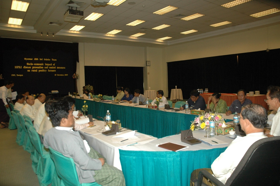 The JDR 3RD Burma research team's workshop on the Socio-economic Impact of HPAI Disease Prevention and Control Measures on Rural Poultry Farmers on December 27, 2007