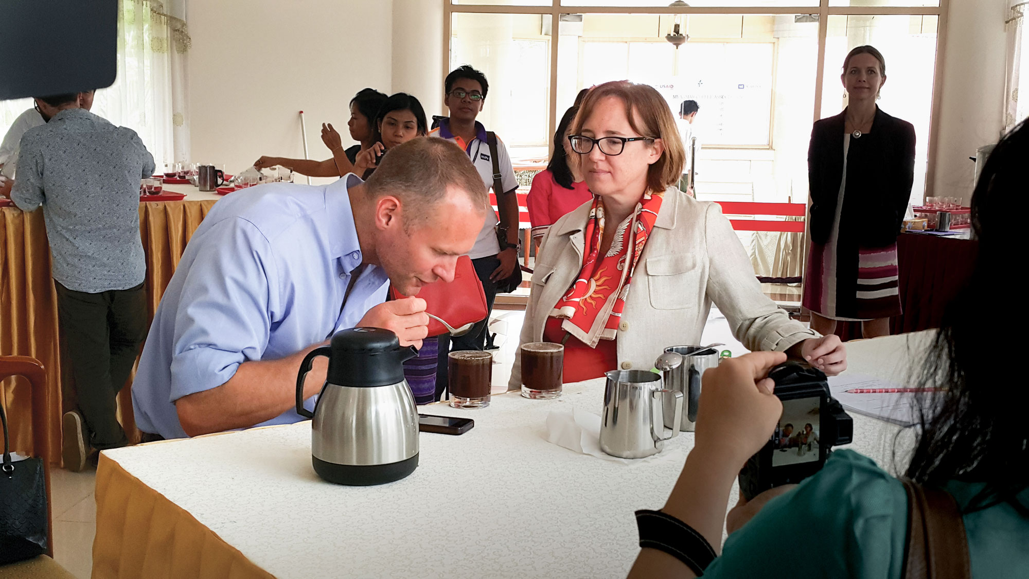 Atlas Coffee's Craig Holt at a cupping event in Burma. Photo by Tim May.