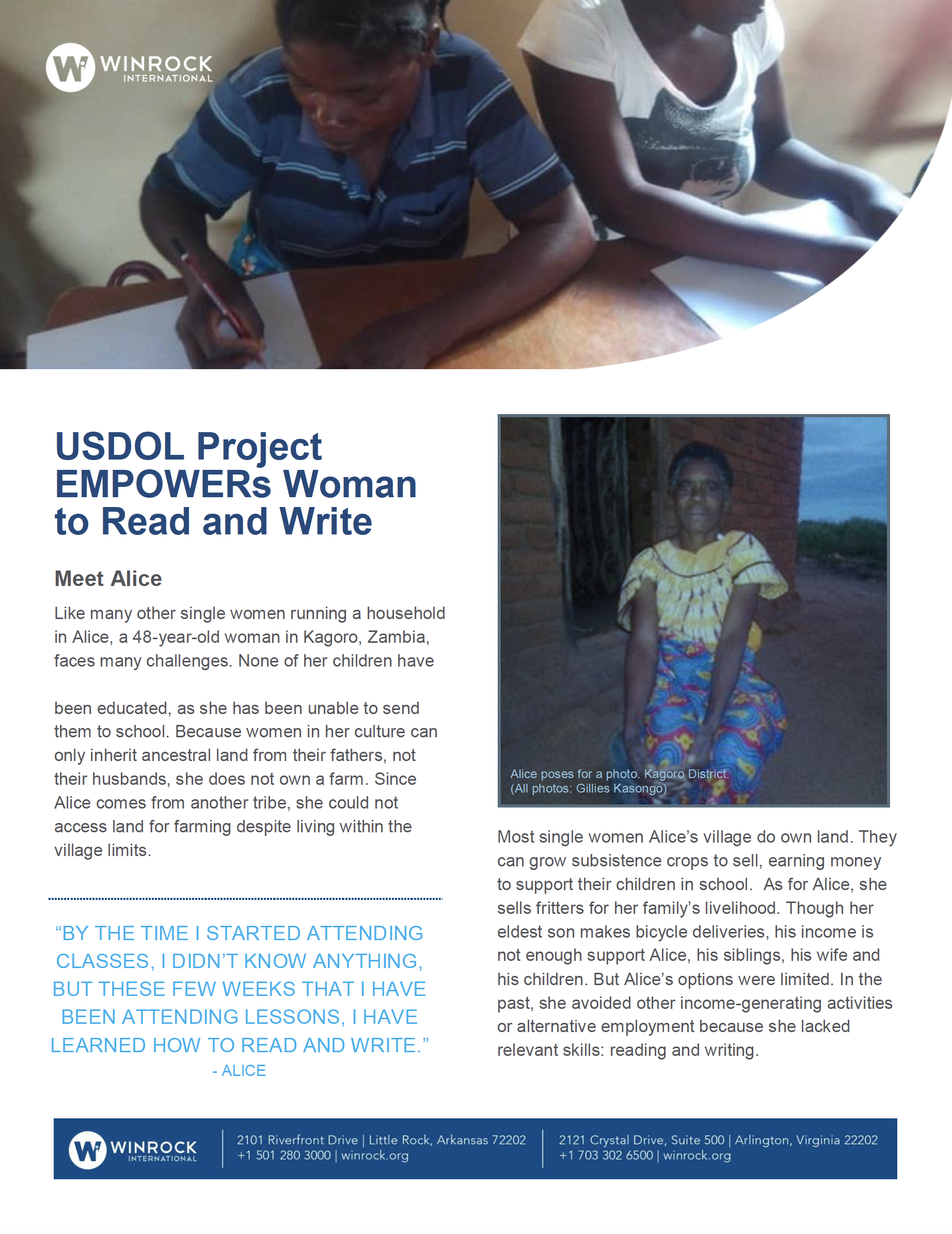 Winrock International » USDOL Project EMPOWERs Woman to Read and Write